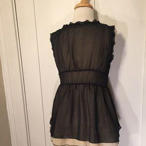 Anthropologie Tops - Anthropologie Odille Black V-neck blouse lace